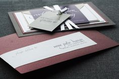 Dramatic Script Modern Wedding Invitation shown in Eggplant, Grey and White, Build-Your-Invite Collection - DEPOSIT. $150.00, via Etsy.
