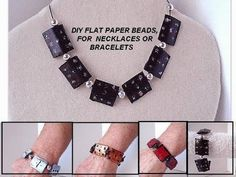 diy paper beads - FLAT BLACK PAPER BEADS for necklace or bracelet - YouTube