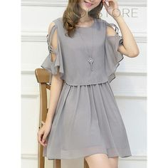 Only buy M ladylike women's scoop neck hollow out half sleeve dress Gray at online chiffon dresses shop, sammydress com Mobile is part of Dresses - Stylish Dresses, Simple Dresses, Cute Dresses, Casual Dresses, Short Dresses, Chiffon Dresses, Dresses Dresses, Summer Dresses, Formal Dresses