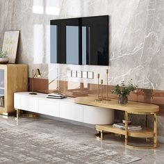Modern to Extending TV Stand with Storage Oval White & Natural/White & Black Media Console - Furniture Living Room Cabinets, Living Room Tv, Tv Cabinets, Living Room Furniture, Home Furniture, Furniture Design, Modern Furniture, Console Furniture, Outdoor Furniture