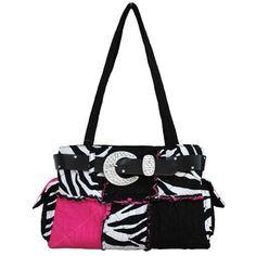 Zebra Stripe, Black and Hot Pink Patchwork Purse