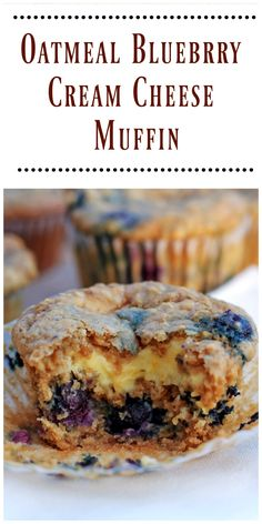 These Oatmeal Blueberry Cream Cheese Muffins are moist and delicious with a fantastic blueberry flavor. via @https://www.pinterest.com/BunnysWarmOven/bunnys-warm-oven/