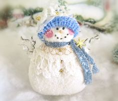 Your place to buy and sell all things handmade Snowman Ornaments, Christmas Snowman, Handmade Christmas, Christmas Crafts, Christmas Decorations, Christmas Ornaments, Holiday Decor, Christmas Ideas, Christmas Colors