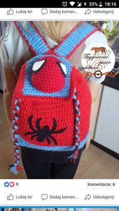 Spiderman Backpack, Crochet Backpack, Backpack Pattern, Crochet Baby, Free Crochet, Knit Crochet, Crochet Chain Stitch, Mochila Crochet, Knit Patterns