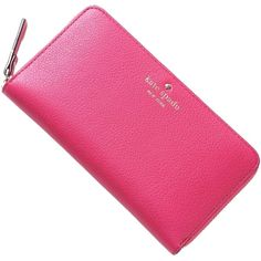 Pre-owned Kate Spade Lacey Cobble Hill Hot Pink Wallet Zip Around... ($108) ❤ liked on Polyvore featuring bags, wallets, accessories, hot pink, woven bag, credit card holder wallet, zip bags, zipper bag and pattern wallet