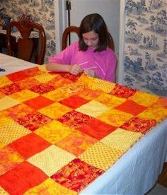 How to sew an easy pieced quilt.