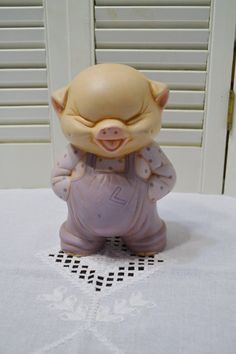 Vintage Pig Bank Ceramic Hand Painted Pink Purple Smiling Piggy Bank…
