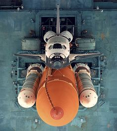 An overhead view of Atlantis as it sits atop the Mobile Launcher Platform (MLP) before STS-79 in 1996