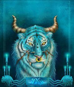 Fantasy Tiger Blue by Anant-art.deviantart.com on @DeviantArt   #dwarf #wow #dnd #paizo #pathfinder #wizardofthecoast #paizoart #indianartist #aishwaaryanant #game #illustration #characterdesign #conceptart #tcggame #rpggame #mtggame #tcg #rpg