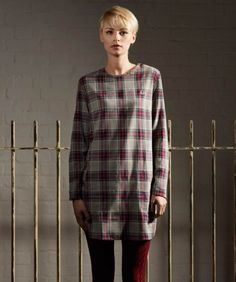 Fred Perry - Women's - 3/4 Sleeve Woven Check T-Shirt Dress