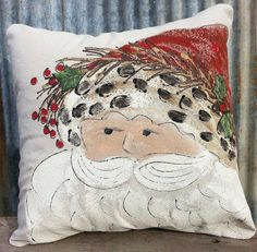 NEW, St. Nick, Santa, Hand-painted, Pillow Cover. Pillow cover is hand-painted on medium weight duck fabric and is signed by artisan. Pillow cover