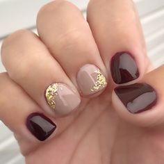 Nude And Maroon Gold Foil Gel Manicure Nails Fallnails Gelmanicure # nude and ma. Gel Manicure Nails, Fall Gel Nails, Cute Gel Nails, Short Gel Nails, Get Nails, Fancy Nails, Pretty Nails, Hair And Nails, Gel Manicure Designs