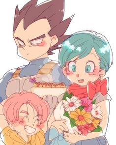 Bulma, Vegeta y Trunks Dragon Ball Z, Vegeta Y Trunks, Vegeta And Bulma, Dbz Characters, Marvel, Cute Family, Son Goku, Diabolik, Anime Couples