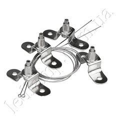 Тросовые подвесы предназначены для клепления светодиодных светильников к потолку. Крепления оборудованы цанговым зажимом который позволяет регулировать высоту подвеса на расстоянии 75-1000мм. от потолка. Тросовые подвесы  часто применяют со светодиодными светильниками изготовленными на базе алюминиевых профилей.   В комплект входит: -верхний ценговый зажим 1шт; -нижний цанговый зажим 1шт; -трос (1м) 1шт;