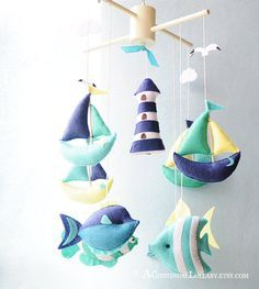 Boats Fish Lighthouse Baby Mobile, Nautical Mobile, Boat Cloud Light House Tropical Fish, Baby Boy Nursery, Baby Boy Mobile,Sea Mobile Ocean