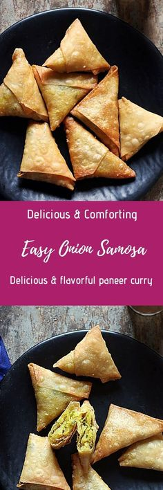 Onion samosa- make delicious, crispy & flaky onion samosaor Irani samosa from scratch with this easy recipe. Easy vegan snack for tea time! Indian Appetizers, Indian Snacks, Best Appetizers, Indian Food Recipes, Real Food Recipes, African Recipes, Savory Snacks, Vegan Snacks, Easy Snacks