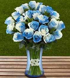 The FTD® University of North Carolina® Tar Heels® Rose Bouquet - VASE INCLUDED...now this is awesome