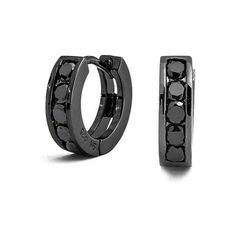Bling Jewelry 925 Black Cubic Zirconia Huggie Earrings ($28) ❤ liked on Polyvore featuring jewelry, earrings, black, cz earrings, vintage jewellery, cubic zirconia jewelry, zirconia jewelry and black jewelry