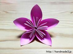 折り紙で立体の桜の花を作った