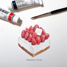 Sweets story Cheesecake fraises Made by chef from Strawberry season is coming 🍓🍓 Cake Sketch, Desserts Drawing, Dessert Illustration, Chibi Food, Cupcake Drawing, Watercolor Cake, Food Painting, Pastry Art, Strawberry Desserts