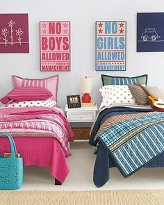 Boys Only and Girls Only: This adorable shared boy and girl room uses colors and artwork to create distinct spaces. (Pinned by Jessica B. from Honey & Fitz.)  Photo Source: Honey & Fitz