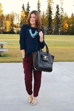 Outfit Posts: Guest outfit post - sister week: maroon sweater, navy crop pant, turquoise necklace, maroon heels (pinterest inspiration)