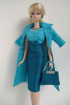 New Handmade Dress and Coat Set for Silkstone Fashion Model Barbie ( slim body ) Barbie Sewing Patterns, Doll Clothes Patterns, Barbie Fashion Royalty, Fashion Dolls, Dress Fashion, Vintage Barbie Clothes, Vintage Dresses, Handmade Dresses, Barbie Dress