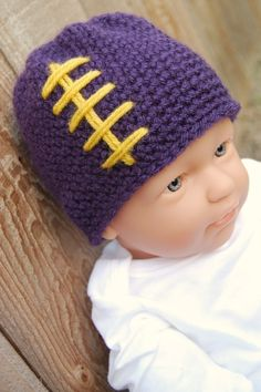 You know Gregg will want him to have a hat like this for next year's football season. You'll just have to make sure he doesn't throw the baby around in the house... he knows you only throw babies outside!
