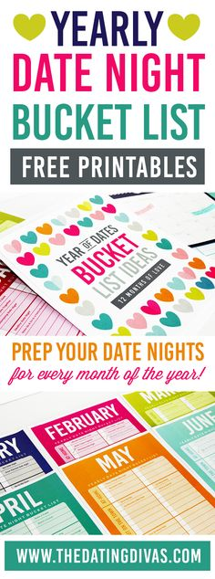 YEARLY DATE NIGHT BUCKET LIST PRINTABLES- Plan your dates for the WHOLE year through! www.TheDatingDivas.com