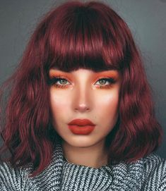 Likes, 50 Comments - Lupe Sujey Cuevas Red Violet Hair, Red Hair Color, Cherry Red Hair, Dark Orange Hair, Dark Red Hair Burgundy, Pelo Color Borgoña, Red Hair Makeup, Makeup Style, Face Makeup