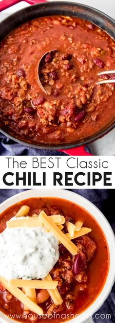 This is the BEST Classic Chili Recipe loaded with savory beef Italian sausage and beans in a bold hearty sauce. It's perfect for soup weather with a large chunk of cornbread or served on top of baked potatoes in queso dips or as a hot dog topping! Chilli Recipes, Best Soup Recipes, Beef Recipes, Cooking Recipes, Chili Recipes With Beef, Homemade Chili Beans Recipe, Hot Sausage Recipes, Beef Chili Recipe, Dinner Recipes
