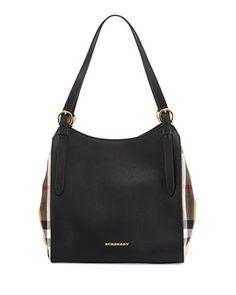 Leather Shoulder Tote Bag, Black by Burberry at Neiman Marcus.