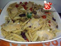 Penne com converva de abobrinhas, cebolinhas e tomatinhos confit - Cozinha Simples da Deia