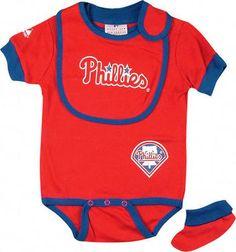 Philadelphia Phillies Baby Bib and Bootie Creeper Set