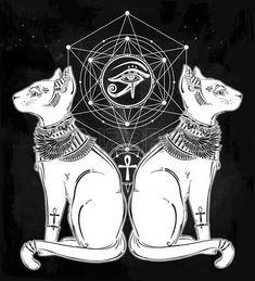 egyptian tattoo: dibujado mano Vintage gato egipcio con el ojo del dios Horus - símbolo de la diosa Bastet. aislado ilustración vectorial. objetos mágicos religiosos lineales en estilo. Tatuaje y plantilla de contorno de impresión.