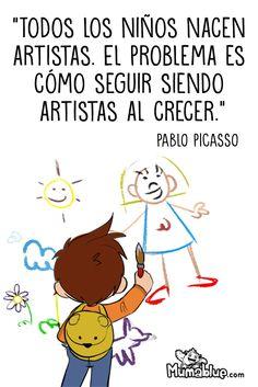 ¿Vuestros peques también son pequeños artistas? ¿Les ayudáis a que lo sigan siendo de mayores? #pequeñosartistas #picasso #niños #arte #dibujo #ilustracion #hijos #padres #madres #pintura #artistas