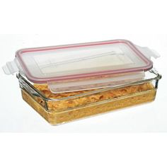 The Glasslock Oven Safe Rectangular Food Storage Container (2200ml) is a safe, simple way to cook, serve and store in the fridge or freezer.