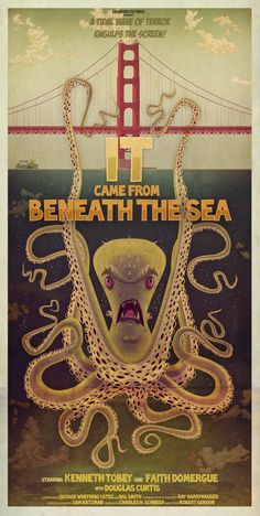 An in progress series of B movie monster posters. So far - 'The Creature from the Black Lagoon' and 'It Came from Beneath the Sea' for the Tentacles art show at Ltd Art Gallery earlier this year. Cthulhu, Le Kraken, Retro, Vampires, Motif Art Deco, Beneath The Sea, Horror Movie Posters, Poster Series, Alternative Movie Posters