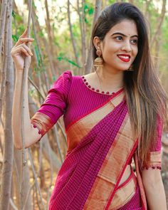 New Saree Blouse Designs, Blouse Designs Catalogue, Simple Blouse Designs, Stylish Blouse Design, Bridal Blouse Designs, Blouse Patterns, Blouse Designs High Neck, Woman Outfits, Saree Collection