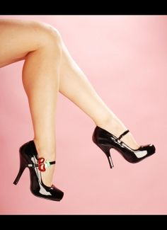 Cutiepie Mary Jane Heels with Cherry Buckle from Pinup Couture Shoes