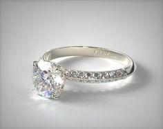 14K White Gold Pave Knife Edge Lotus Basket Engagement Ring | 17969W14 - Mobile