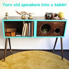 Turn old speakers into a table with this easy DIY! Upcycled Furniture, Home Decor Furniture, Furniture Projects, Furniture Makeover, Diy Home Decor, Diy Projects, Speaker Table, Diy Speakers, Floor Speakers