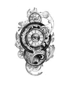 The most popular 30 clock tattoo design ideas for women - Tattoos- The most popular 30 clock tattoo design ideas for women – Page 20 The most popular 30 clock tattoo design ideas for women Yes Nicest - Nails Clock Tattoo Design, Tattoo Design Drawings, Tattoo Sketches, Tattoo Designs Men, Tattoo Clock, Clock Drawings, Gear Tattoo, Full Sleeve Tattoo Design, Watch Tattoos