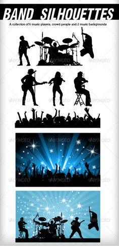 Band silhouettes — Vector EPS #music #silhouettes • Available here → https://graphicriver.net/item/band-silhouettes/155780?ref=pxcr