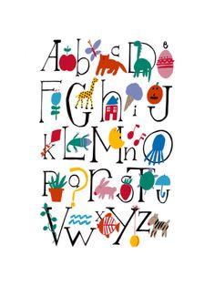Cute Alphabet with Illustrations Print at Art.com