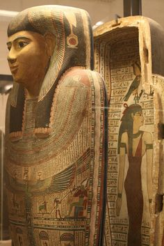 Egyptian coffin from the display in the Egyptian wing of the Louvre in Paris