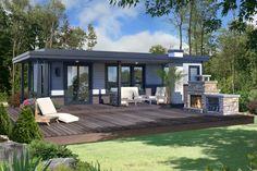micro habitation 16 x 36 vue arrire avec son aire de vie extrieure accueillante - Maison Moderne Avectoiture