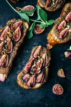 Baked brioche with pistachio crème, honey, and figs.