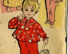 Vintage Advance 9606 Toddler Girls Pajamas, Nightgown and Footed Pajamas Sewing Pattern Sizes 1