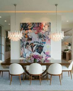 Get inspired by these dining room decor ideas! From dining room furniture ideas, dining room lighting inspirations and the best dining room decor inspirations, you'll find everything here! Dining Room Wall Decor, Dining Room Design, Dining Room Furniture, Furniture Ideas, Modern Dining Room Chairs, Modern Dinning Room Ideas, Living Room Artwork, Chairs For Dining Table, Dining Area